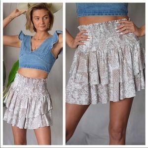 Snakeskin Print Tier Ruffled Mini Skirt NWT